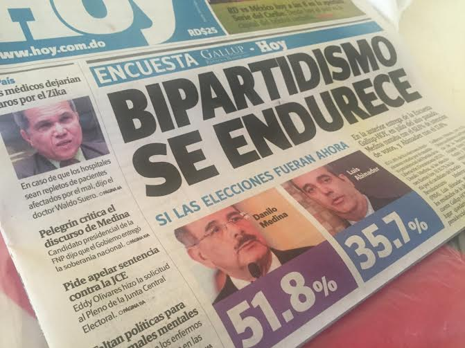 Danilo 51.8%, Luis Abinader 35.7%,Moreno 4.3, según una nueva encuesta Gallup-Hoy