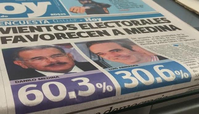 Danilo Medina 60.3%, Luis Abinader 30.6%,según nueva encuesta Gallup