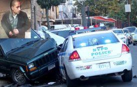 Cacería policial tras hispano robó patrullero y estrelló contra otros autos