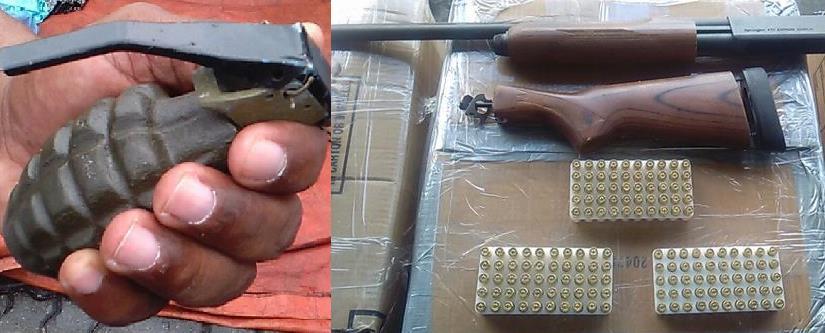 Hallan granada, rifle y municiones en cajas de comidas traídas de EU