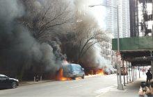 Incendio de varios vehículos provoca pánico en el bajo Manhattan