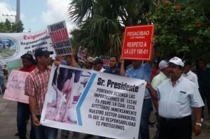 Ganaderos se concentran frente a sede Agricultura; piden no importen leche