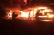 Fuego destruye al menos 9 autobuses en el centro de depósito de la OMSA en SD