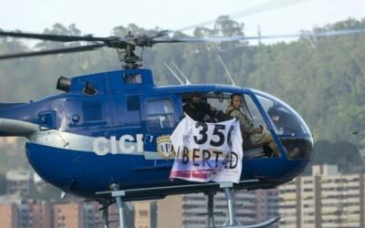 Foto del helicóptero de la CICPC presuntamente pilotado por el Inspector Oscar Pérez, efectivo de la Brigada de Acciones Especiales.