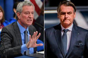 """Alcalde NY Bill Blasio le dice """"hasta  nunca"""" al presidente Jair Bolsonaro"""