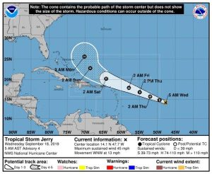 Se forma la tormenta tropical Jerry; huracán Humberto afecta ya Bermuda