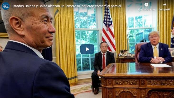 """EE.UU y China alcazan """"amoroso"""" acuerdo comercial parcial"""