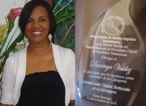 Dominga Valdez gana en RD premio Comunicador Destacado del Exterior