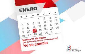 Ministerio de Trabajo reitera feriado Día de la Altagracia no se cambia