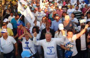 Gilberto Serulle encabeza marcha caravana en barrios de la zona norte