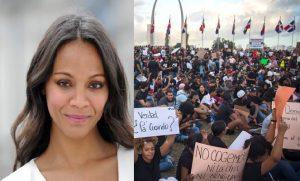 Zoe Saldaña apoya las protestas en R.Dominicana pero no viajará al país