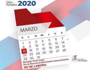 Ministerio de Trabajo informa domingo 15 de marzo es feriado