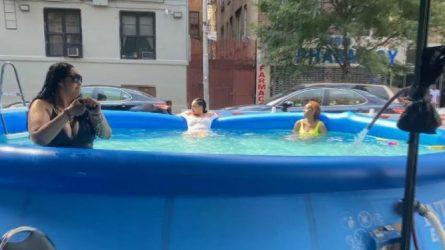Fiesta en piscina inflable en pleno barrio dominicano moviliza Policía