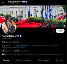 Presidente Najib Bukele se define como «dictador de El Salvador»